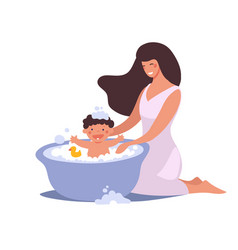 Mom washes baby in bathroom the kid vector