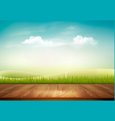 Nature background with wooden deck in front vector