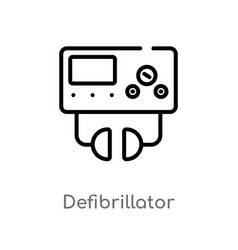 Outline defibrillator icon isolated black simple vector