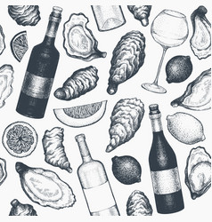 oysters and wine seamless pattern hand drawn vector image