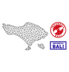 Polygonal 2d bali map and grunge stamps vector