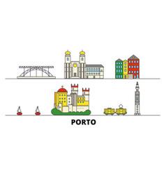 Portugal porto flat landmarks vector