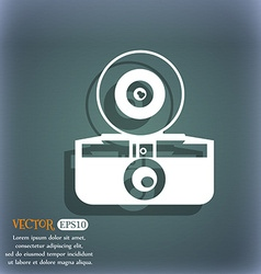 retro photo camera icon On the blue-green abstract vector image