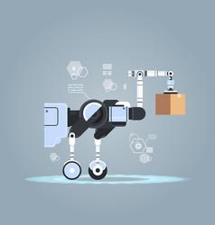 robotic worker loading cardboard boxes hi-tech vector image