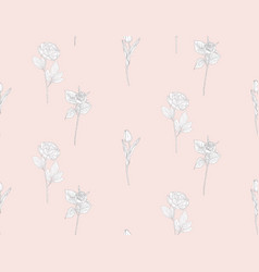 seamless pattern with drawn flowers plants vector image
