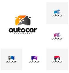 set of car pulse logo template car repair logo vector image