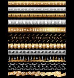 set of christmas seamless borders vector image