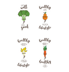 set of cute fruits and vegetables doing sport with vector image