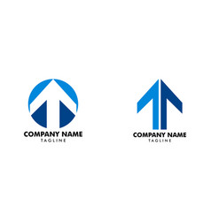 set of t letter and arrow up logo vector image