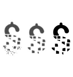 Shredded dotted halftone disappear dollar icon vector