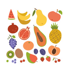 simple cute fruit icon collection set colorful vector image