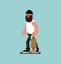 Skater walking with board in hand vector