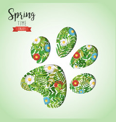 spring time animal paw paper cutout greeting card vector image