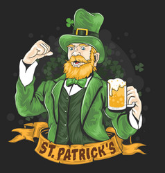 st patricks day green beer party vector image