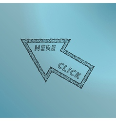 stamp with arrow and click here text vector image