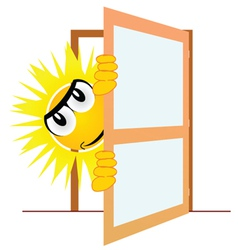 Sun open the door art vector