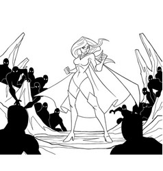 Superheroine ready for battle line art vector