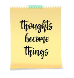 thoughts become things card isolated on white vector image