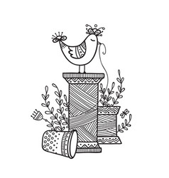 Thread spool and cute bird vector