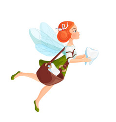 Tooth fairy with transparent wings in green dress vector