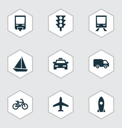 Transportation icons set collection of railroad vector