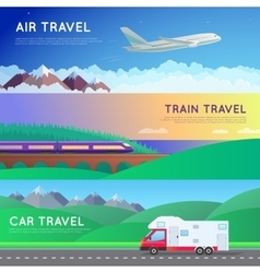 Travel panorama set vector