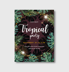 Tropical-themed poster design with monstera vector