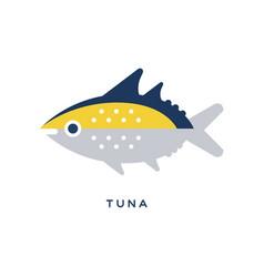 tuna sea fish geometric flat style design vector image