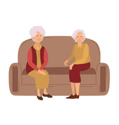 Two grandmothers on a meeting at home sitting on vector