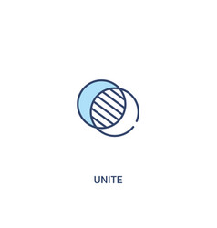 Unite concept 2 colored icon simple line element vector