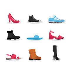 various shoes flat set vector image