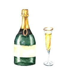 Watercolor champagne bottle and glasses vector