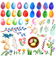 Watercolor easter elements collection vector