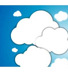 White clouds in blue clear sky background vector