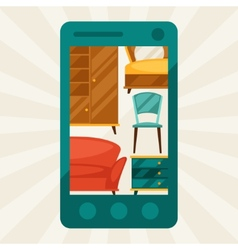 With mobile phone and furniture in retro style vector