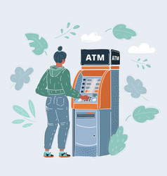 woman draws out money vector image