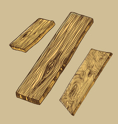 Wood or piece tree plank and log lumber and vector
