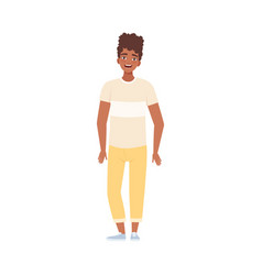 Youngs afro-american man standing and smiling flat vector