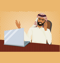 arab business man in traditional clothes working vector image vector image