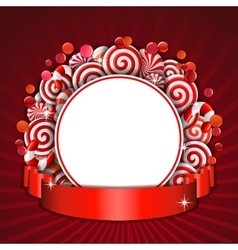 Frame with red and white candies vector image