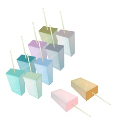 Row of Various Flavored Popsicle Ice Creams vector image vector image