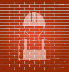 worker sign whitish icon on brick wall as vector image vector image