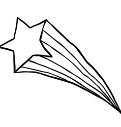 black and white falling star vector image vector image