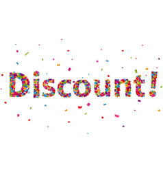 discount sign with colorful confetti vector image vector image