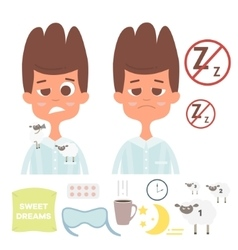 Sleepless set with man facespillowcup of vector image