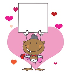 Stick African American Cupid with Banner vector image