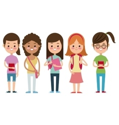 Back to school girls companions students smiling vector