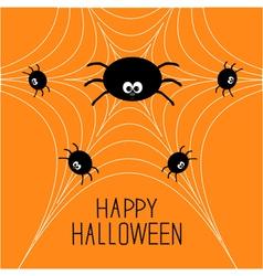 Cute cartoon spider family on the web Halloween vector image