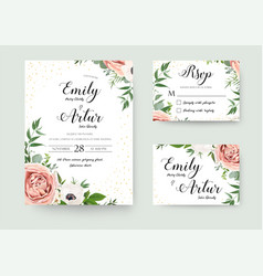 wedding floral invite invitation thank you rsvp vector image vector image