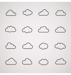 cloud icons shapes set for computing web and app vector image